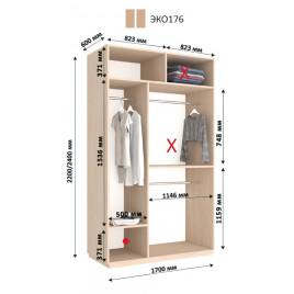 Двухдверный шкаф-купе ЭКО 170х60х240 см.