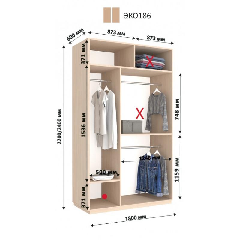 Двухдверный шкаф-купе  ЭКО 180х60х240 см.