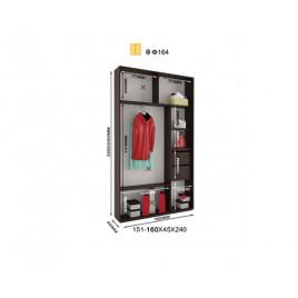 Двухдверный шкаф купе Альфа 160х45х240