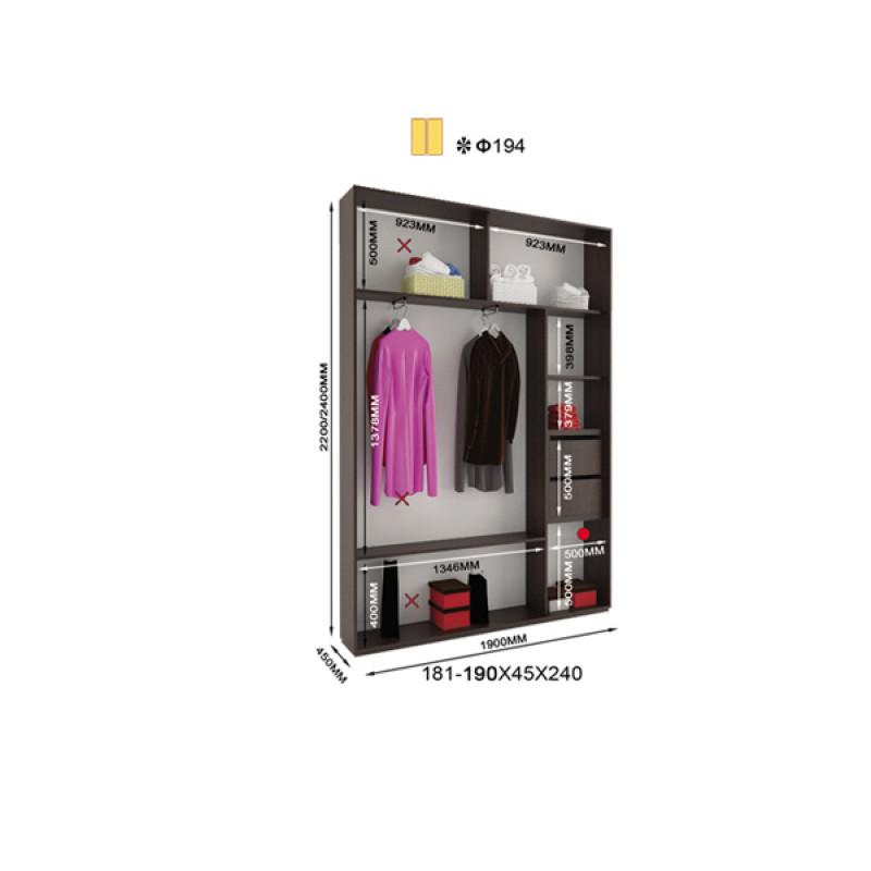 Двухдверный шкаф купе Альфа 190х45х240
