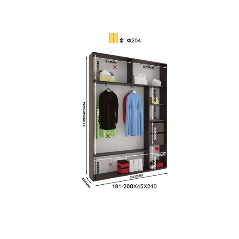 Двухдверный шкаф купе Альфа 200х45х240