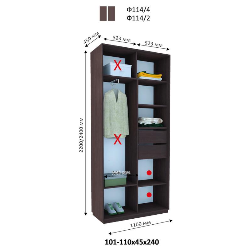 Двухдверный шкаф купе Альфа 110х45х240