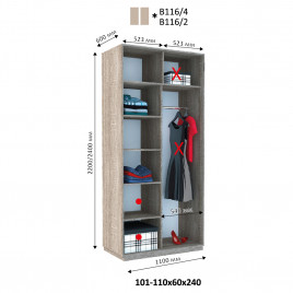 Двухдверный шкаф-купе  Хайп 110х60х240 см.