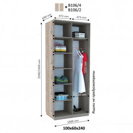 Двухдверный шкаф-купе  Хайп 100х60х240 см.