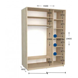 Шкаф купе Практик 150х60х240 см.