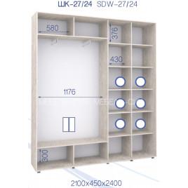 Двухдверный шкаф-купе Свейп 210х45х240 см.