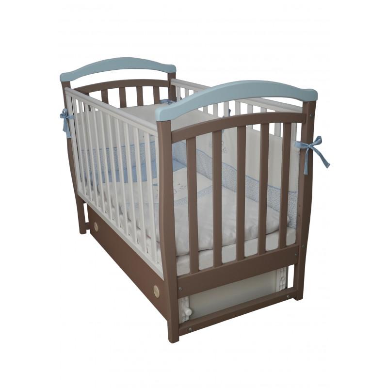 Кроватка детская ЛД6 капучино-голубой