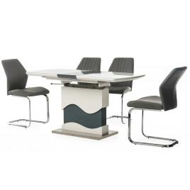 Стол МДФ+стекло ТМT-80 экстра белый+серый